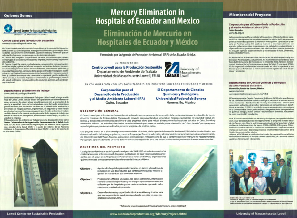 Mercury elimination in hospitals of Ecuador and Mexico